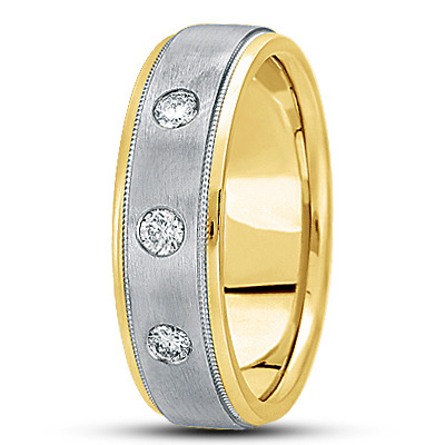 Round Diamond Milligrain Men's Two Tone Band