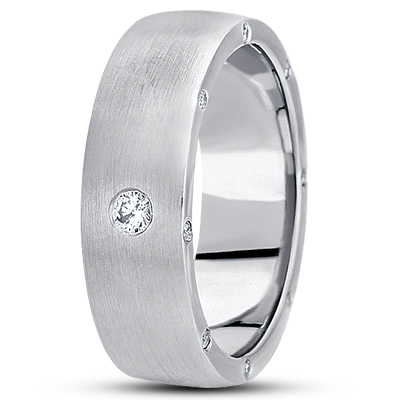 Surprise Diamond Satin Wedding Band
