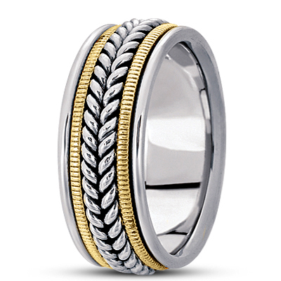 Wheat Rope Mens Two Tone Wedding Band