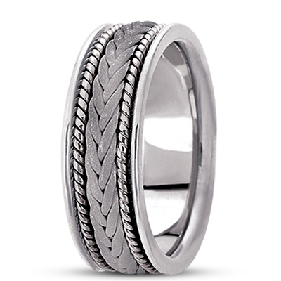Sand Blast Woven Rope Mens Wedding Band