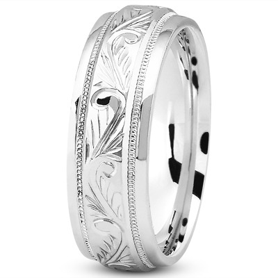 Floral Engraved Milligrain Wedding Band