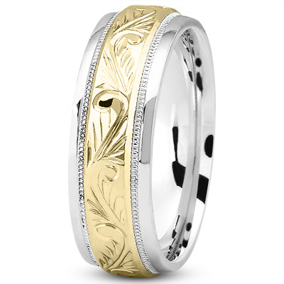 Floral Engraved Two Tone Wedding Band