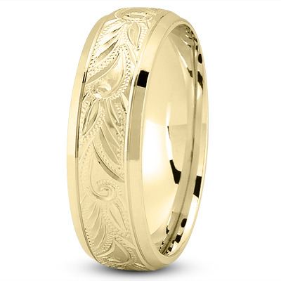 Floral Engraved Yellow Wedding Band
