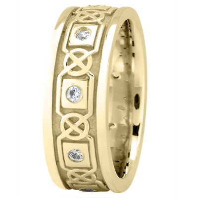 Celtic Yellow Wedding Band Round Diamonds
