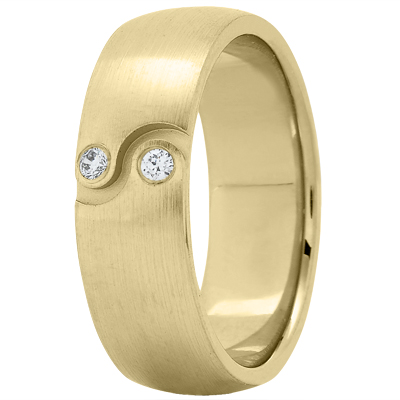 Ying Yang Diamond Yellow Wedding Band