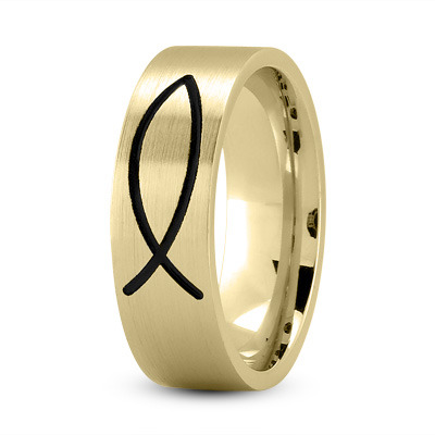 Black Rhodium Ichthus Ring 18K Yellow Gold