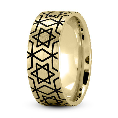 Star of David Black Rhodium Ring Yellow Gold