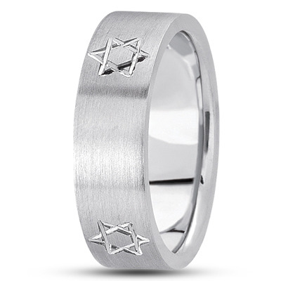 Engraved Star of David Mens Satin Band