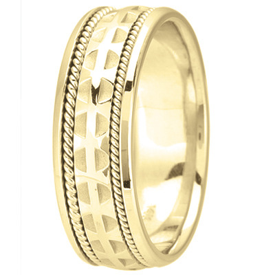 Mens Wedding Band with Cross Pattée & Rope Edging, 7mm, in 14k Yellow Gold