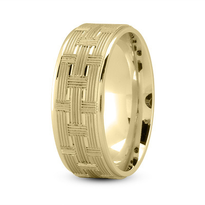 8mm Weave Engraved Wedding Band in Yellow Gold