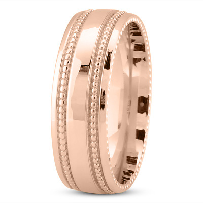 Comfort Fit Milligrain Rose Band 7mm