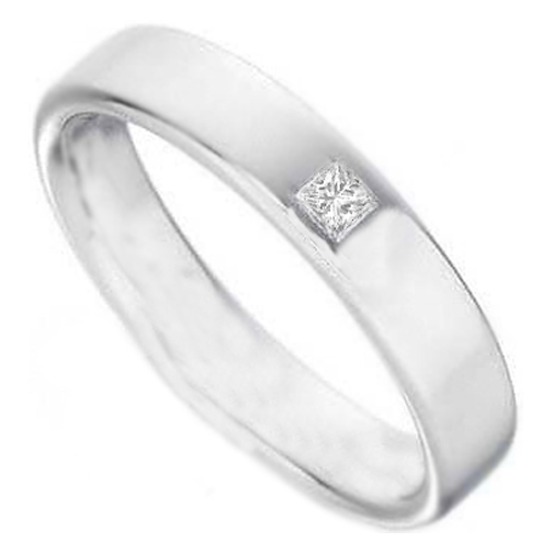 Princess Diamond Wedding Band Bezel Set in 14K White Gold