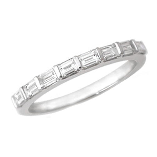 Baguette Diamond Wedding Band 0.50 tcw. Bar Set In 14K White Gold