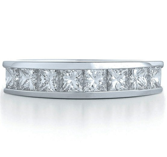 Princess Cut Diamond Eternity Wedding Anniversary Band 1.6 tcw. Channel Set in 14K White Gold
