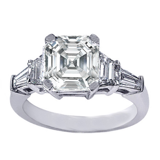 Asscher Cut Diamond Engagement Ring trapezoids and baguettes 0.60 tcw. In Platinum
