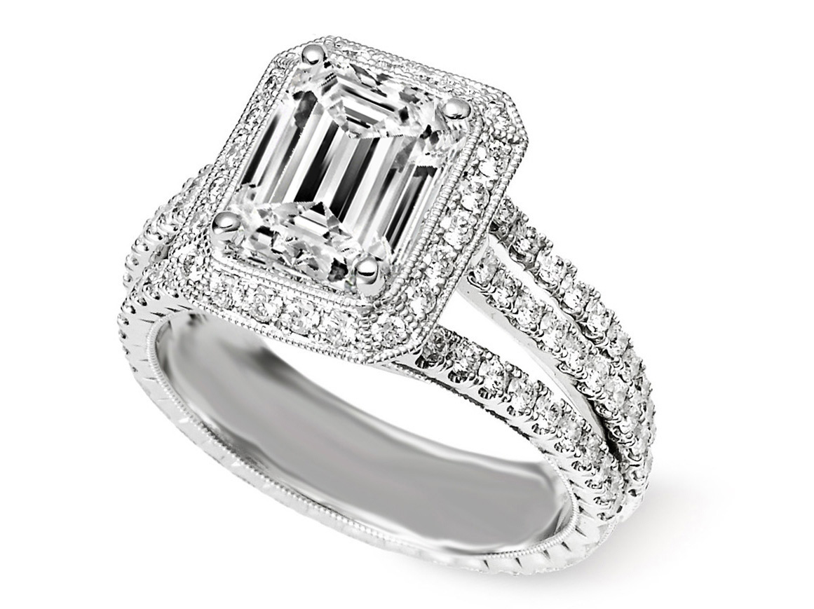 Trio Band Emerald Cut Diamond Engagement Ring in 14K White Gold
