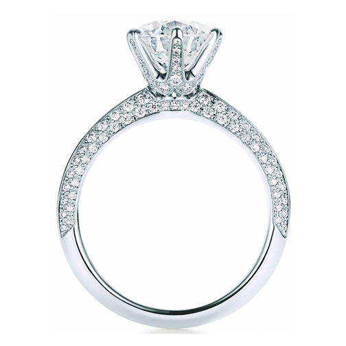 Novo Pave Set Knife Edge Diamond Engagement Ring