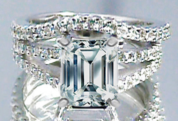 Emerald Cut Diamond Split Band Engagement Ring Setting Beyoncé's Choice & Matching Wedding Band, 0.91 tcw.