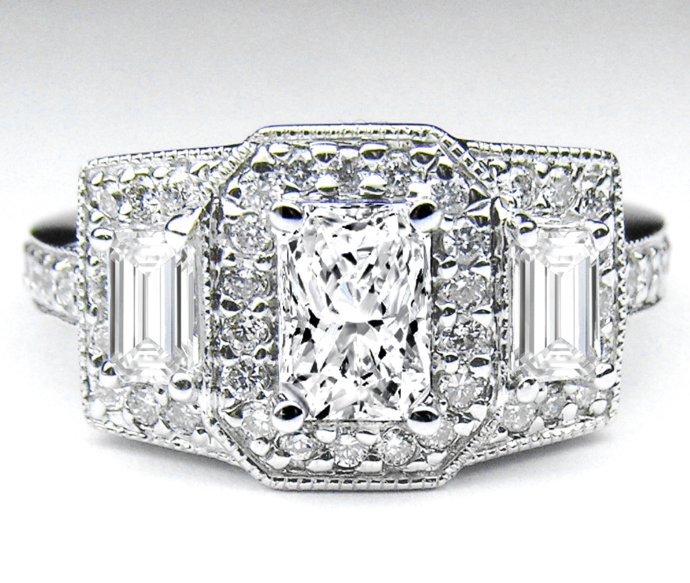Radiant Cut Diamond Vintage Style Three Stone Engagement Ring Setting in 14K White gold 1.06