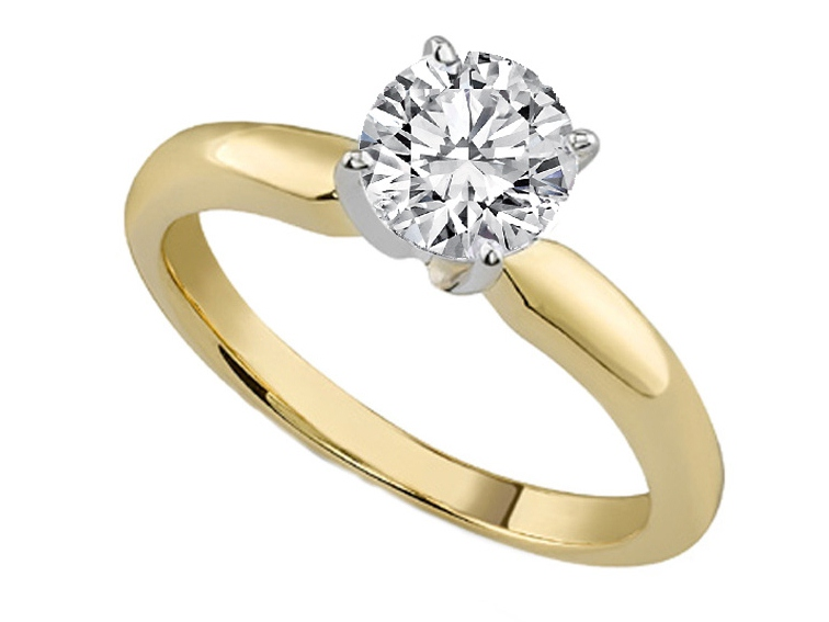 Classic Solitaire Diamond Engagement Ring Dome Tapered Band in 18K Yellow Gold
