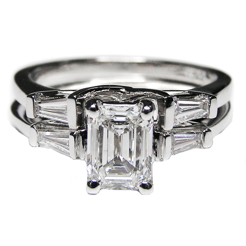 Engagement Ring Bridalset Emerald Cut Diamond Trellis Engagement