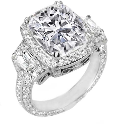 Cushion Diamond Vintage Design Halo Engagement Ring Cadillac trapezoids side stones