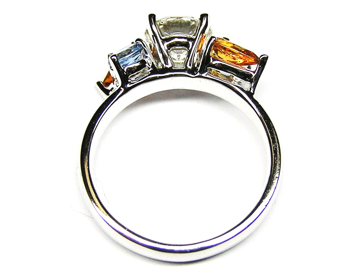 Diamond Engagement Ring Multi Gem Stones Accents  in 14K White Gold