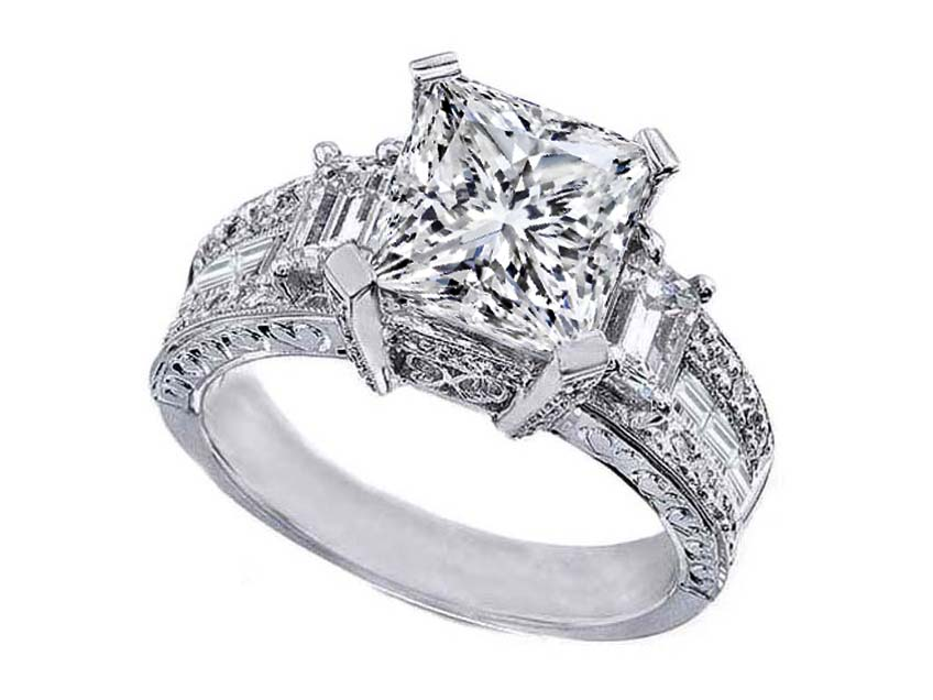 Engagement Ring Princess Cut Diamond Vintage style Engagement Ring