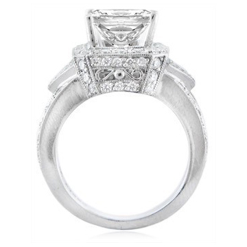1.26 tcw. Heirloom Diamond Vintage Style Platinum Engagement Ring Setting