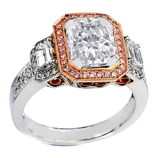 Engagement Ring Three Stone Radiant Cut Diamond Vintage Style Two tone Plati