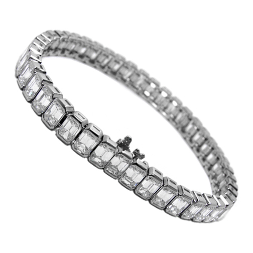 14 Carat Emerald cut Diamond Tennis Bracelet G-H - VS