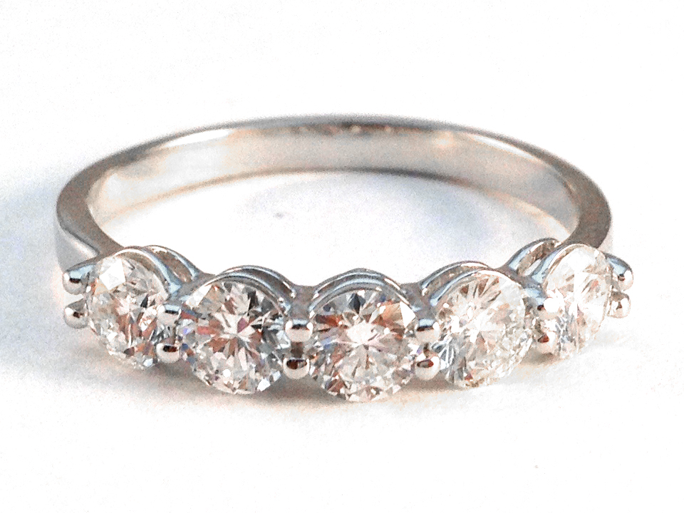 Five Stone Diamond Wedding Ring 1.65 tcw
