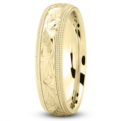 Milligrain  Engraved Yellow Wedding Band
