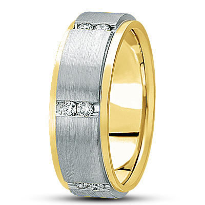 Duo Diamond Channel Two Tone Eternity Band