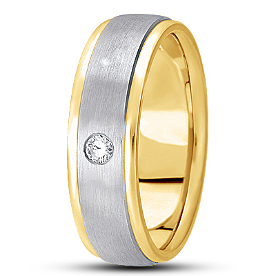 Round Diamond Men's Satin Two Tone Band