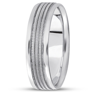Triple Milligrain Men's Wedding Band