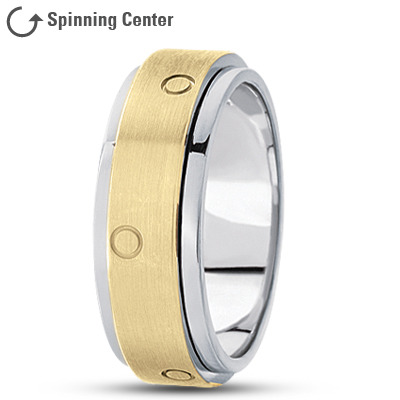 Spinner Wedding Band Two Tone Satin Finish