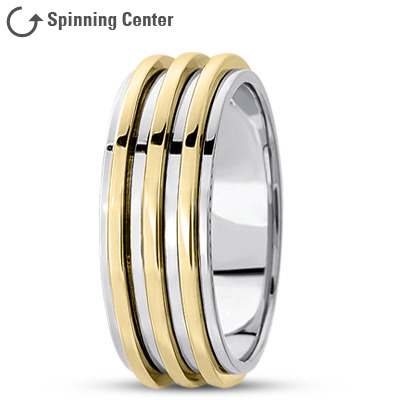 Two Tone Fidget Spinner Men's Ring