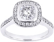 Cushion Cut Diamond Cathedral Engagement Ring Setting with Sidestones